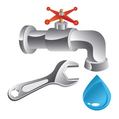 water tap and wrench (plumber)