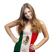 Young Woman with long curly hair and a t-shirt of Mexico