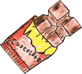 hand draw sketch, chocolate bar