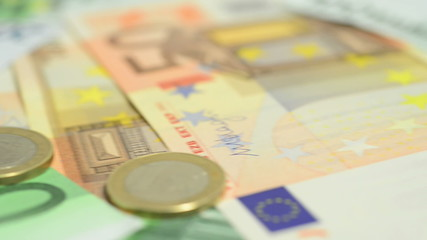European cash, banknotes and coins.