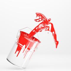 Eimer spritzt mit Farbe Rot
