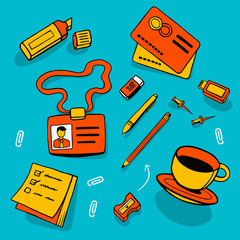 Illustration of office accessories and different objects.