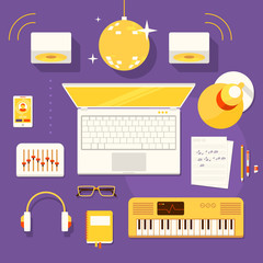 Illustration of workplace of musician.