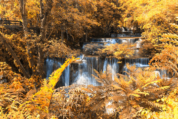 Autumn Deep forest Waterfall in Kanchanaburi (Huay Mae Kamin)
