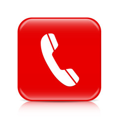 Red phone button, icon