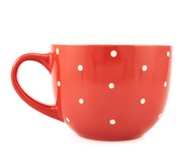 Red polka dot cup isolated