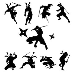 Ninja Shadow siluate Vector silhouette