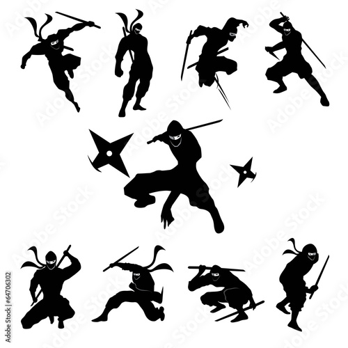 Ninja Shadow siluate Vector silhouette - 64706302