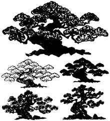 松 盆栽 毛筆イラスト 手書き