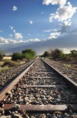 Old railway tracks in interesting light