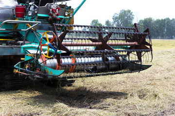 Harvesting rice tractor working