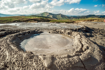 Moon like muddy volcanoes lanscape in Romania