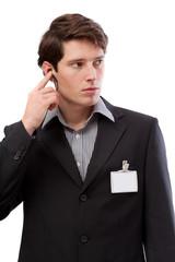 Watchman with earplug and id card