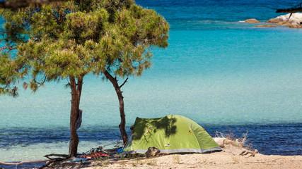 Beautiful panorama of Karidi beach in Vourvourou, Sithonia, Gree