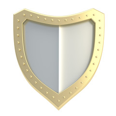Three-dimensional shield symbol isolated