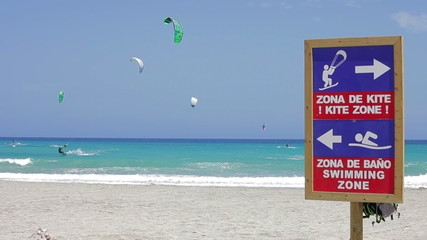 Kite zone. Kiters in action in Costa Calma, Fuerteventura