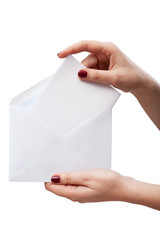 Hand with open envelope