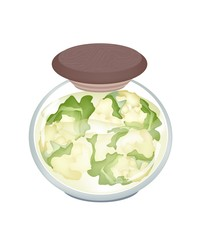 A Jar of Delicious Pickled White Cauliflower