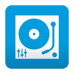 Etiqueta tipo app azul simbolo tocadiscos