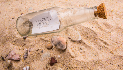 Concept image of a message HOPE in a bottle