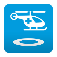Etiqueta tipo app azul simbolo helipuerto medico
