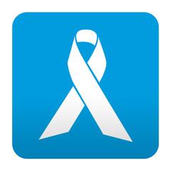Etiqueta tipo app azul simbolo lazo solidario
