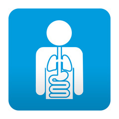 Etiqueta tipo app azul simbolo anatomia