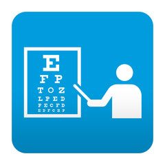 Etiqueta tipo app azul simbolo oculista