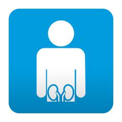Etiqueta tipo app azul simbolo urologia