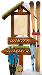 Summer Winter Wooden Signage