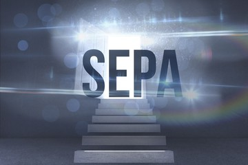 Sepa against steps leading to open door showing light