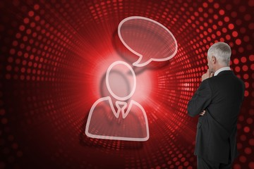 Composite image of businessman and speech bubble
