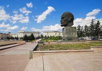 Giant head of Lenin in Ulan-Ude, Russia