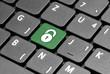 Padlock. Protected. Green hot key on computer keyboard.