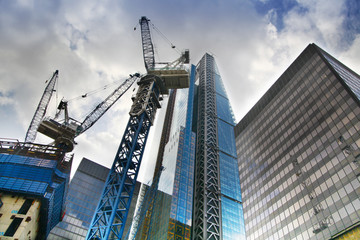City of London big building site with cranes