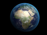 3D render the planet Earth on a black background, high resolutio - 64713163