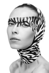 beautiful fashion model in a zebra