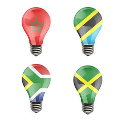 Realistic bulb of Tanzania, Jamaica, South Africa, Morroco