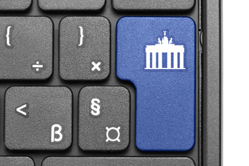 Go to Berlin!. Blue hot key on computer keyboard.
