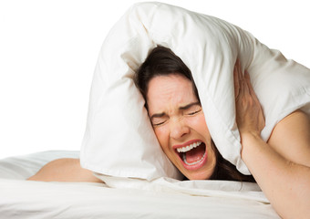 Frustrated woman can't sleep.