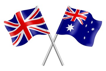 Flags: United Kingdom and Austalia