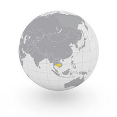 Mappamondo Asia Cambogia