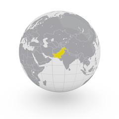 Mappamondo Asia Pakistan