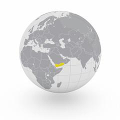 Mappamondo Asia Yemen