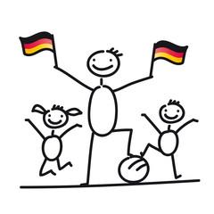 Vater, Tochter und Sohn als Fußballfans