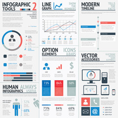Blue and red flat simple vector infographic elements