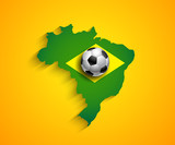 Brazil country  soccer map with ball poster
