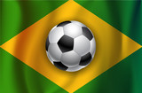 Brazilian country flag with soccet  ball World Cup 2014 poster