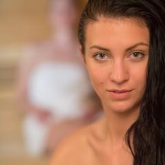 Young woman at sauna