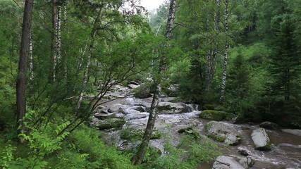 Belokurikha mountain river in Altai Krai.
